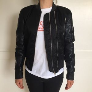 The Kooples Nylon Leather Bomber Jacket
